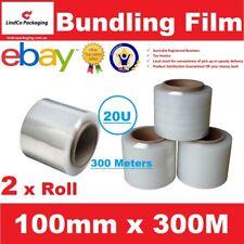 2 Roll Bundling Film Stretch Film Pallet Shrink Wrap 100mm x 300m Clear 20U