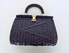 Vintage Woven Purse Black Vinyl Hand Made In British Hong Kong 40s Retro Handbag
