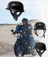Fly Racing 9MM Half Helmet Flat Black Large Mens Guys Boys Harley Davidson Bike