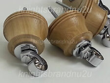 4x WOODEN FURNITURE FEET WITH CHROME CASTORS, SOFA, CHAIR, SETTEES M8(8mm)