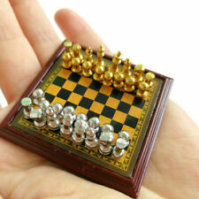 1 12 Toy Metal Silver Golden Chess and Board Set Play Game Dollhouse Accessories