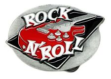 Music Belt Buckle Rock N Roll Red Guitar Design Authentic C & J Buckles Product