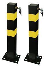 2 Heavy Duty Folding Robust Security Parking Post Driveway Bollard + Lock & Keys