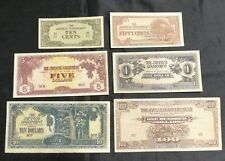 1940's Japanese occupation of Singapore Malaya banana banknote 6 denominations