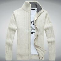 Men Zip Up Sweater Knitted Cardigan Stand Collar Warm Lining Thick Coat Jacket t