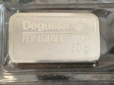 Degussa 50 Gramm 999 Silber Feinsilber Silberbarren eingeschweißt