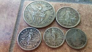 ONE DOLLAR OF PHILIPPINE SILVER COINS FROM EARLY 1900'S! MOSTLY VERY FINE!