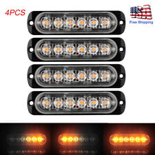 4x Amber 6 LED Car Truck Emergency Beacon Warning Hazard Flash Strobe Light Bar
