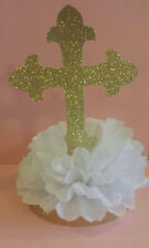 Cross Centerpiece christening baptism baby shower Gold Glitter Cross table decor