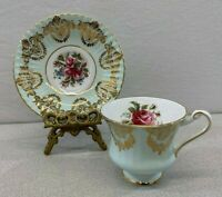 Paragon Bone China Mint Green w/Gold Lace Pattern Teacup & Saucer