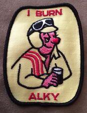 Vintage Patch NOS I Burn Alky 70s Beer Rat Hot Rod Muscle Car Racing Drag Funny