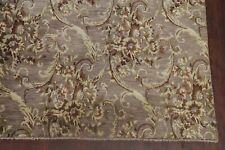 Tuscan All-Over MAUVE BROWN Living Room Hand-Knotted Wool Aubusson Area Rug 9x12