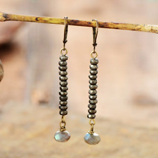 Natural Gemstone Pyrite | Labradorite Bronze Dangle Drop Earrings Boho Gold
