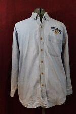 Cotton Heritage US Army Logo Men's Denim Blue Jean Shirt Embroidered Sz Large