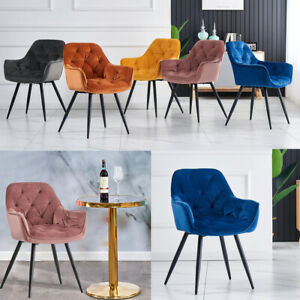 1/2/4X Dining Chairs Velvet Padded Seat Metal Legs Kitchen Chair Home Office Set