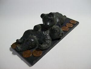 A Wolf Original Soapstone BEAR CUBS BEARS Sculpture, Handmade Canada