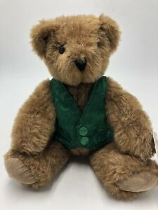 """Vermont Teddy Bear 1993 12"""" Jointed St Patrick's Day Look Bear"""
