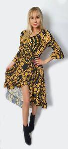 women's vintage  v-neck summer long maxi chain print party fishtail dress