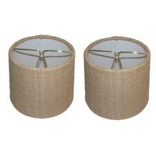 Beige Burlap 6 Inch European Drum Style Chandelier Lamp Shades (Set of 2)