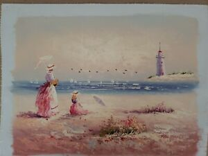 Marie Charlot Original Oil on Canvas  Watching the Sails