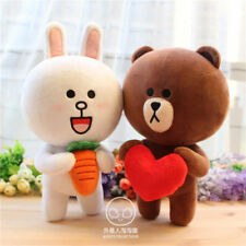 "10""Hot Japan Line Friends Brown Bear White Cony Hare Stuffed Fluffy Doll Toy 1pc"