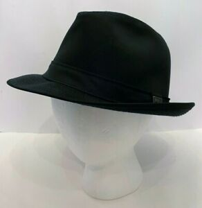 Vintage London Fog Men's Fedora Hat Size 7 Black Canvas Rain Resistant Lined