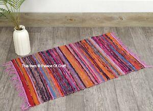 Indian Rag Chindi Throw Woven Handmade Cotton Floor Yoga Mat 2X3 FT Rug Dari