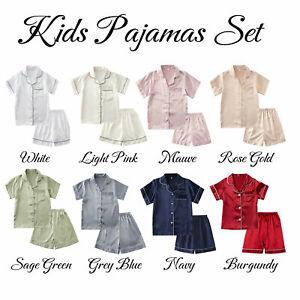 Girl Boys Silk Satin Pajamas Set Kids Suit  Short Sleeve Sleepwear Nightwear