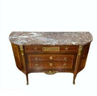 19th Century French Commode Cherub Design White & Red Marble Top Wooden Bronze