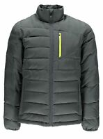 NWT Spyder Men's Dolomite Full Zip Down Jacket Polar Gray Bryte Yellow Pick Size