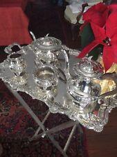 English Sheffield Silver Plate Coffee & Tea Set  N. Wind Mask Theme afterBarker