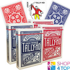4 DECKS BICYCLE TALLY HO FAN BACK PLAYING CARDS STANDARD INDEX 2 RED 2 BLUE NEW