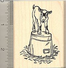 Cute Pygmy goat on pail rubber stamp H8602 wood mounted