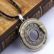 Men Vintage Fashion Amulet Round Pendant Adjustable Leather Rope Chain Necklace
