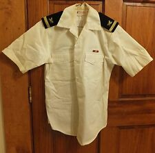 VINTAGE U.S. NAVY SHORT SLEEVED BUTTON WHITE SHIRT WITH SHOULDER BOARDS SMALL