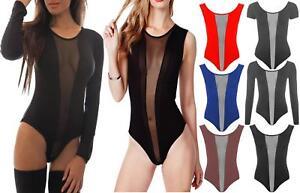 Womens Black Sleeveless Sheer Mesh Insert Bodysuit Ladies Sexy Leotard Vest Top