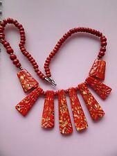 Dichiarazione di grandi dimensioni Tinti di rosso in finta Bovini Osso Tribale Collana Stile a Frange