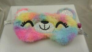 Teddy bear face beauty eye mask sleep mask light out multi color rainbow