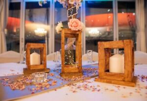 Handmade Large Tabletop Wooden Candle Lantern Wedding/Table Decoration.