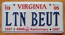 Virginia 2005 VANITY License Plate LIGHTNING BOLT
