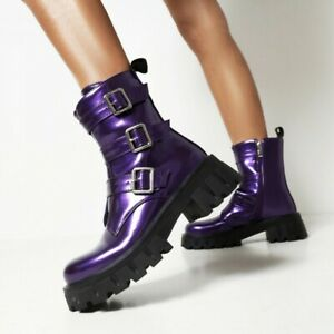 Women's Round Toe Non-slip Creeper Heel Side Zip Motorcycle Ankle Boots Outdoor