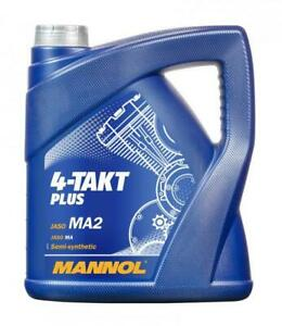 Aceite 10W40 Lubricante de motor Moto MANNOL 4-Takt Plus JASO MA /MA2, API SL 4L