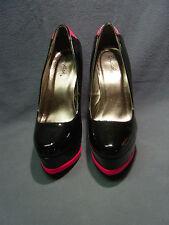 "WOMEN'S SHOES Platform ""QUPID"" BLACK & HOT PINK"" 5 1/2HEEL SLIP ON SIZE  6 1/2 M"