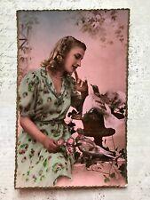 Beautiful Lady Glamour French Fashion Original Vintage Postcard