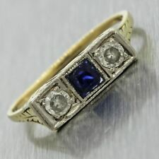 1920s Antique Art Deco 14k Solid Yellow Gold 0.35ctw Diamond Sapphire Ring