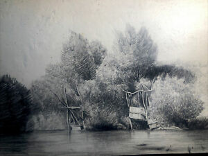 Circa 1880s Antique PENCIL DRAWING Art RIVER BANK Fishing FRENCH COUNTRYSIDE