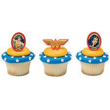 24 Wonder Woman Amazing Amazon Cupcake Rings-NEW