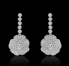 Boucles d'Oreilles Clous Plaqué Or Blanc CZ Chandelier Fleur Rose Mariage G1 5