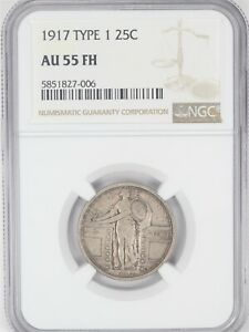 1917 Standing Liberty Quarter NGC AU 55FH Type 1 Full Head AC727