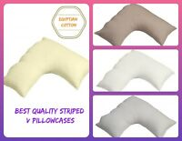 Luxurious TC300 Egyptian Cotton Satin Striped V-Shaped Pillow Cases